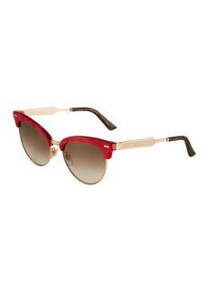 Gucci Round Semi-Rim Metal Sunglasses
