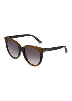 Gucci Round Striped Acetate Sunglasses with Gradient Lenses