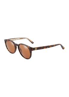 Gucci Round Tortoiseshell Plastic Sunglasses
