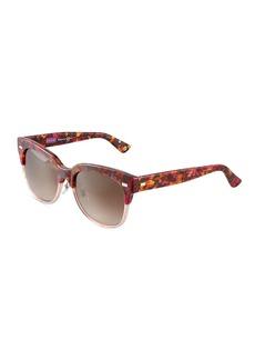 Gucci Round Two-Tone Havana Plastic Sunglasses