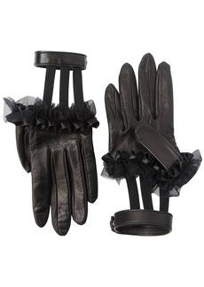 Gucci Ruffled Leather Gloves W/ Wrist Strap