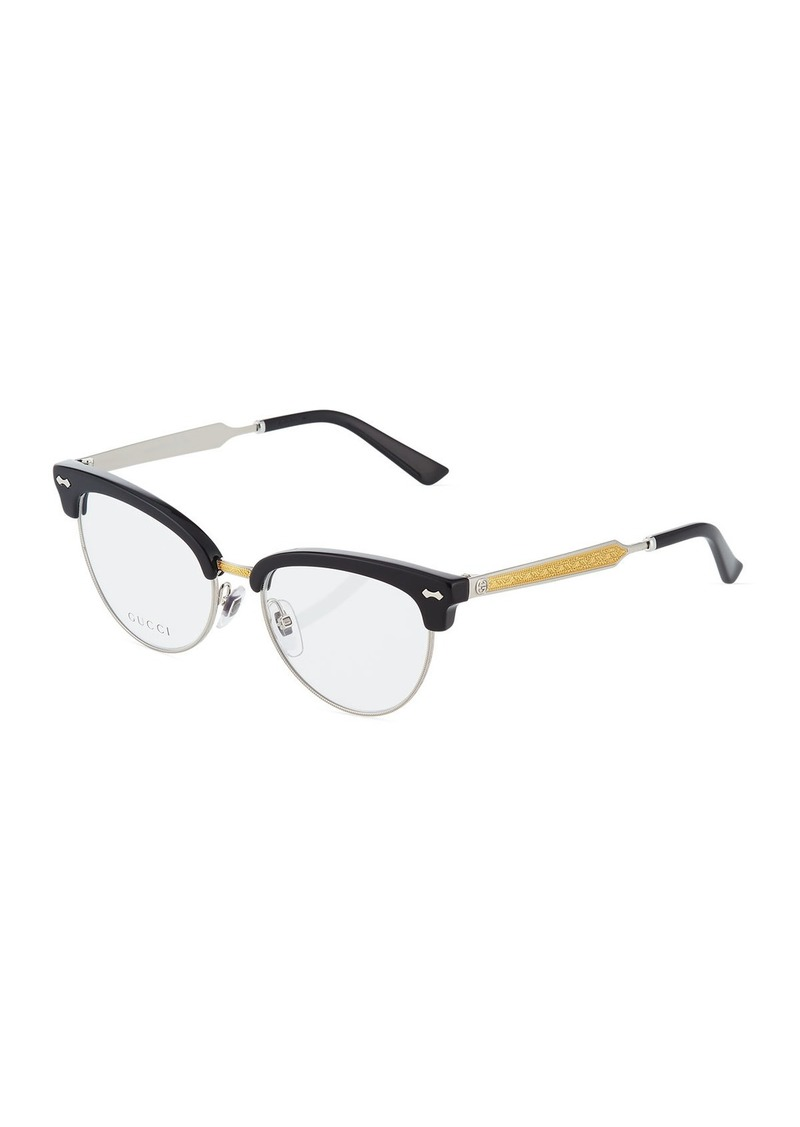 5c3a0b6a90b4 Gucci Semi-Rimless Round Plastic Optical Glasses | Misc Accessories