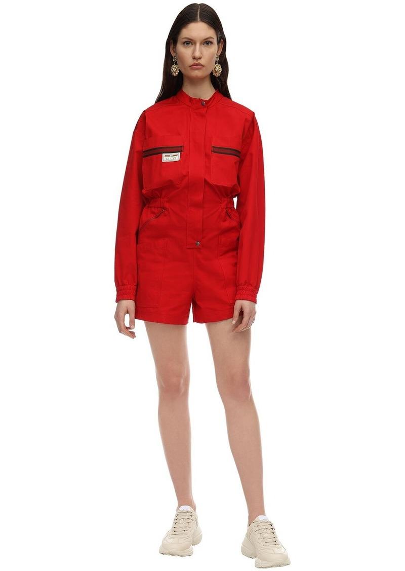 Gucci Short Cargo Canvas Jumpsuit