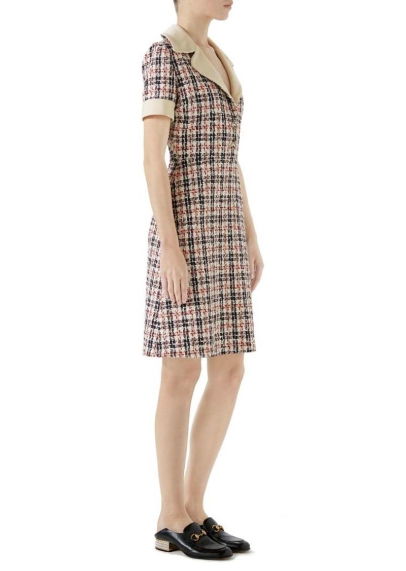 2c25f186db Gucci Short-Sleeve V-Neck Collar Tweed Dress | Dresses