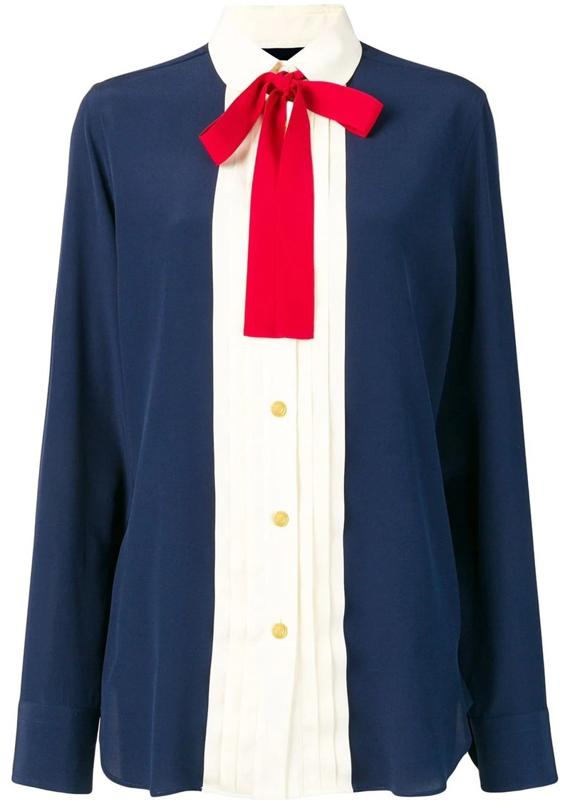 Gucci silk neck bow shirt