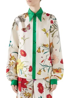 Gucci Silk Twill Floral Blouse