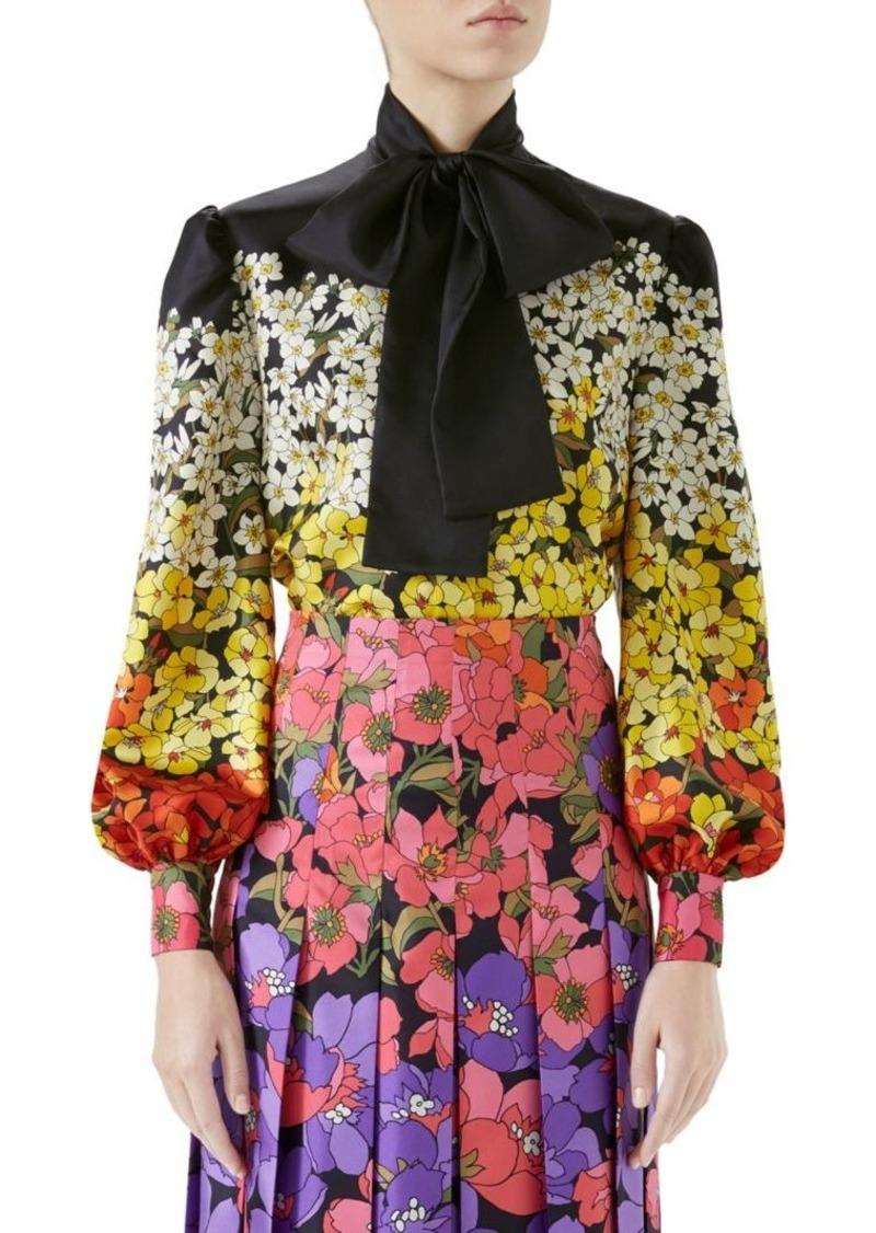 2790e9694c45 Gucci Silk Twill Floral Tie-Neck Blouse