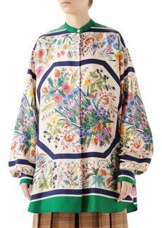 Gucci Silk Twill Floral Tunic Blouse