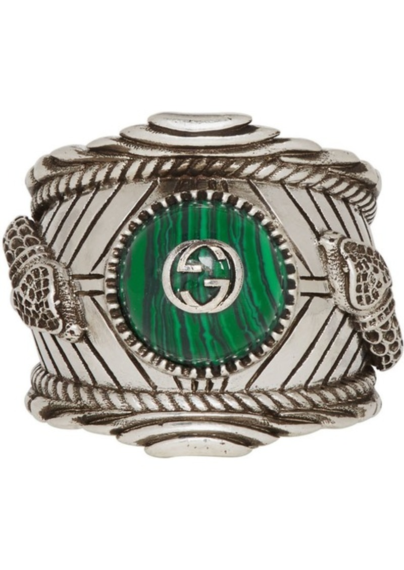 Silver & Green 'Gucci Garden' Ring