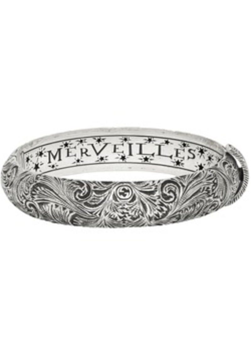 Gucci Silver 'LMDM' Garden Bracelet