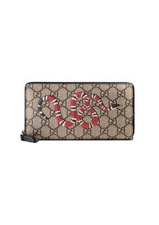Gucci Snake print GG Supreme zip around wallet