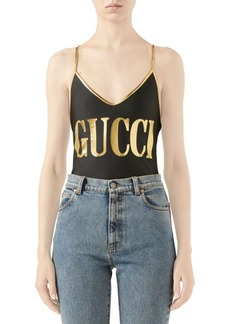 Sparkling Gucci Logo One-Piece Swimsuit