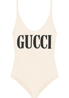 Sparkling swimsuit with Gucci print