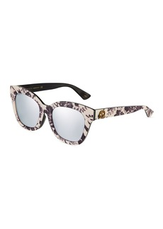 Gucci Square Acetate Floral Sunglasses with Mirrored Lenses