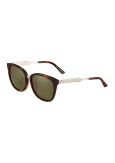 Gucci Square Acetate/Metal Sunglasses