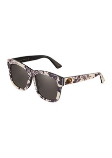 Gucci Square Floral Acetate Sunglasses