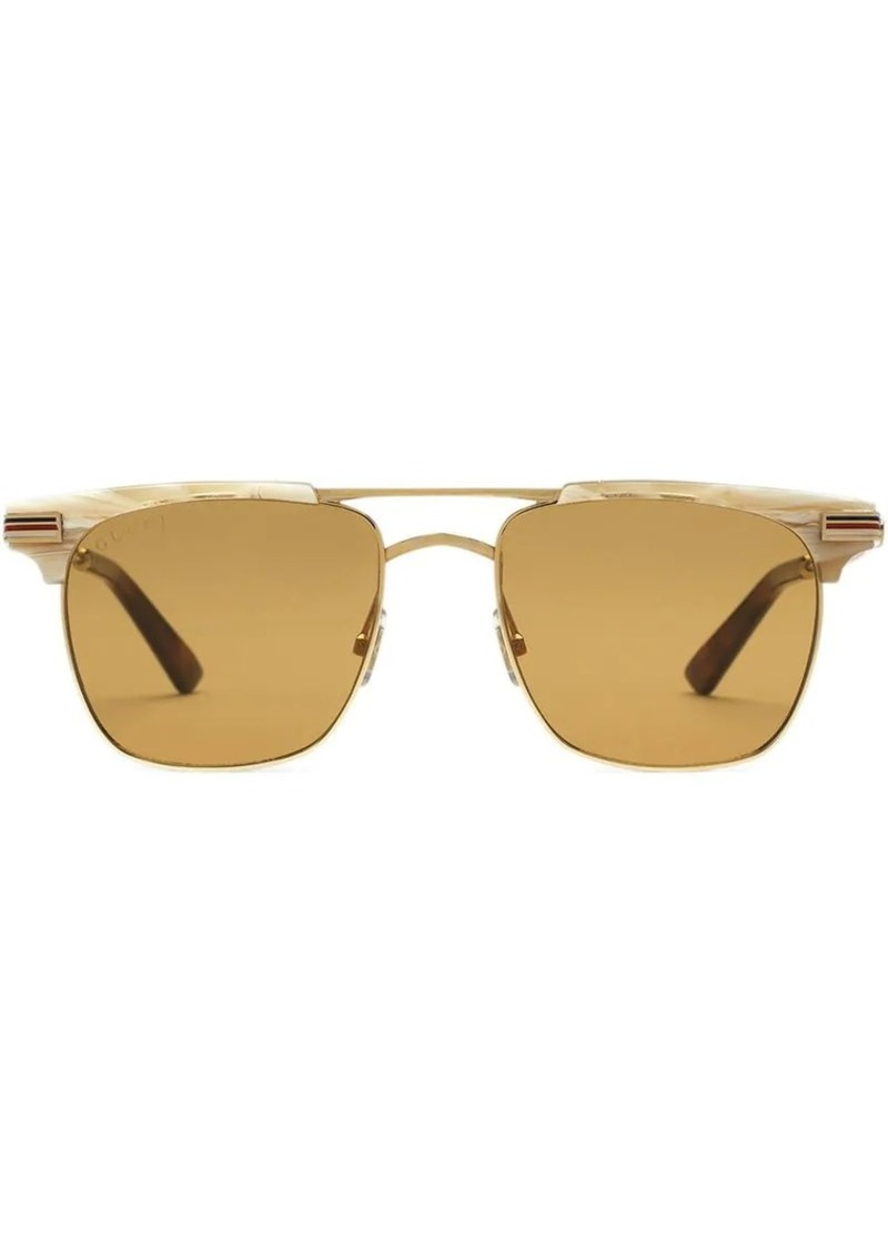 6d4f81265b0 Gucci Square-frame metal sunglasses