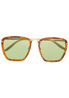 Gucci square-frame tortoiseshell-effect sunglasses
