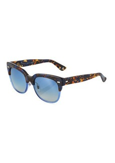 Gucci Square Two-Tone Havana Plastic Sunglasses