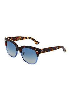 Gucci Square Two-Tone Havana Plastic Sunglasses