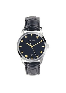 Gucci Stainless Steel & Leather Strap Watch