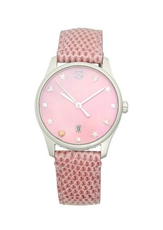 Gucci Stainless Steel Lizard Leather-Strap Watch