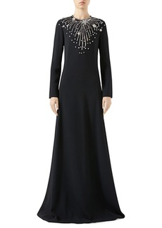 Gucci Star Embellished Long-Sleeve Technical Jersey Gown