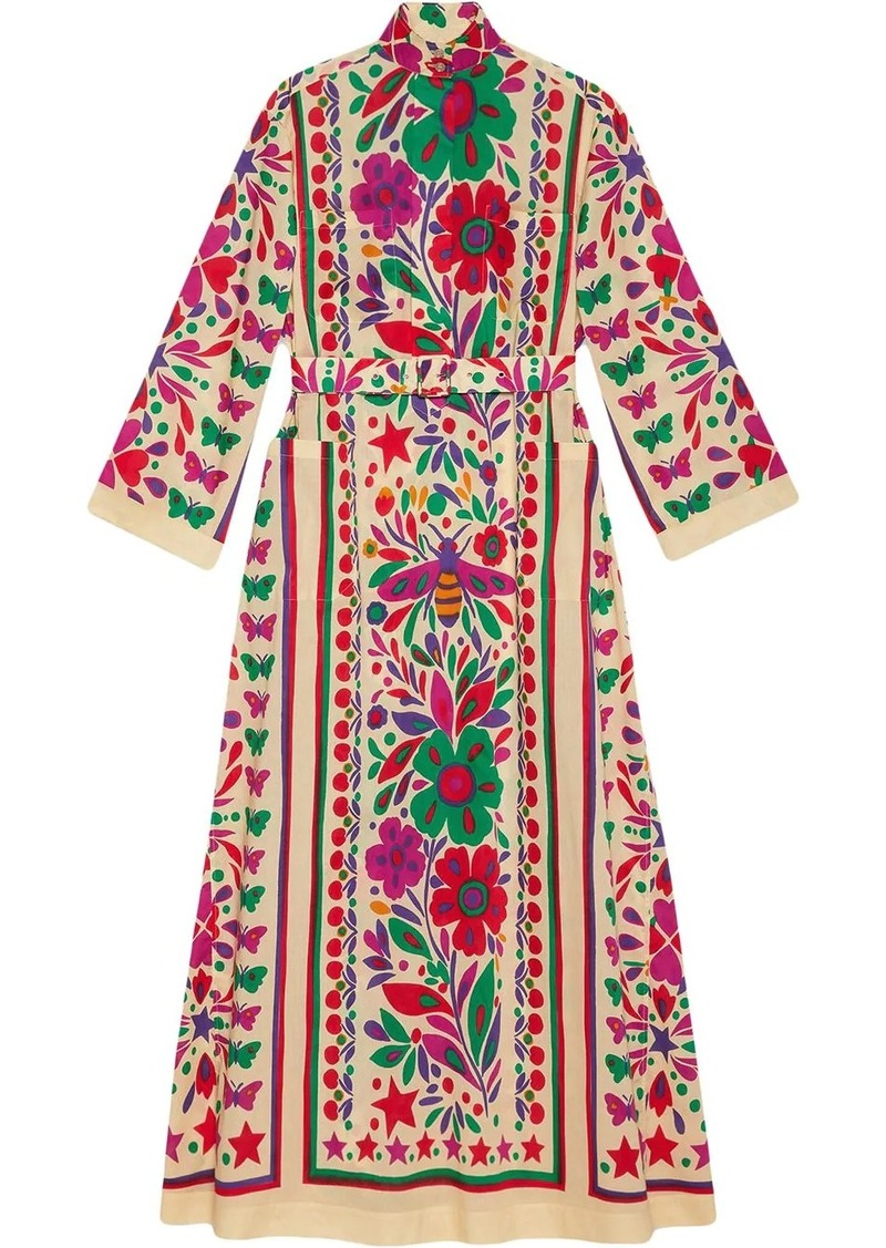 Gucci Star Garden print belted dress