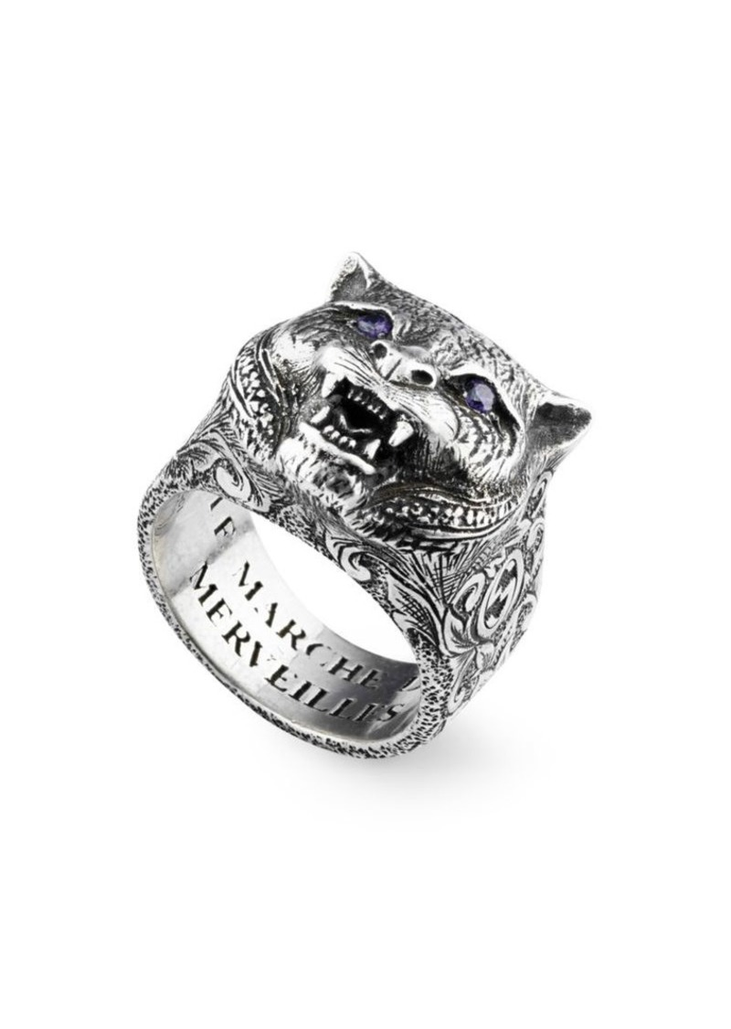 78951ac021186 Gucci Sterling Silver   Purple Crystal Saber-Toothed Cat Ring