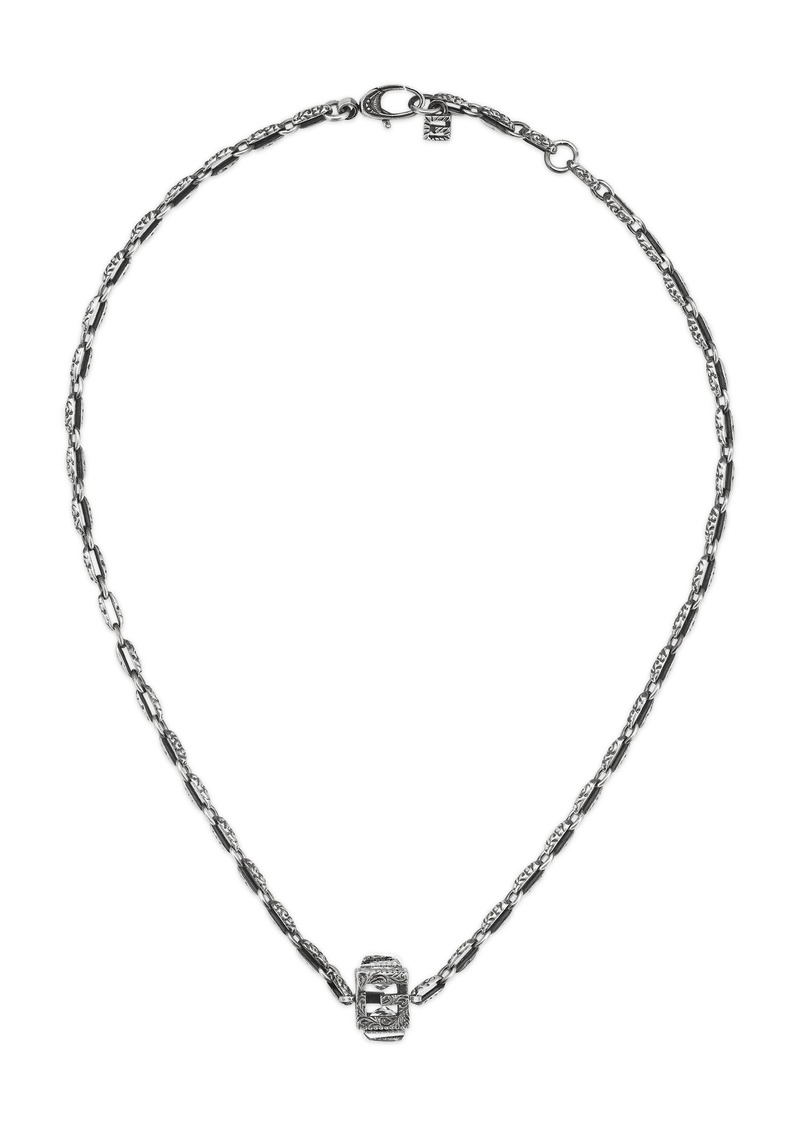 Gucci Sterling Silver G-Cube Necklace with Crystal