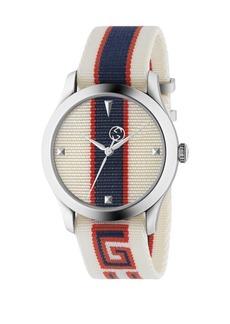 Gucci Stripe Textile-Strap Watch
