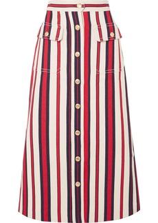 Gucci Striped Denim Midi Skirt