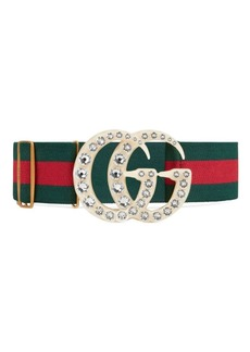 Gucci Striped Web Belt with GG Buckle