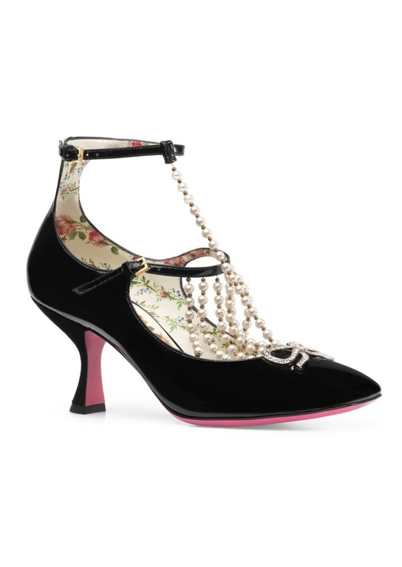 42c96cbdb13 Gucci Taide Pearl Embellished Patent Leather Mary Jane Pumps