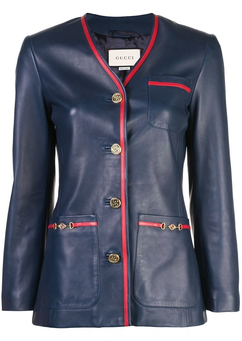 Gucci tailored leather blazer