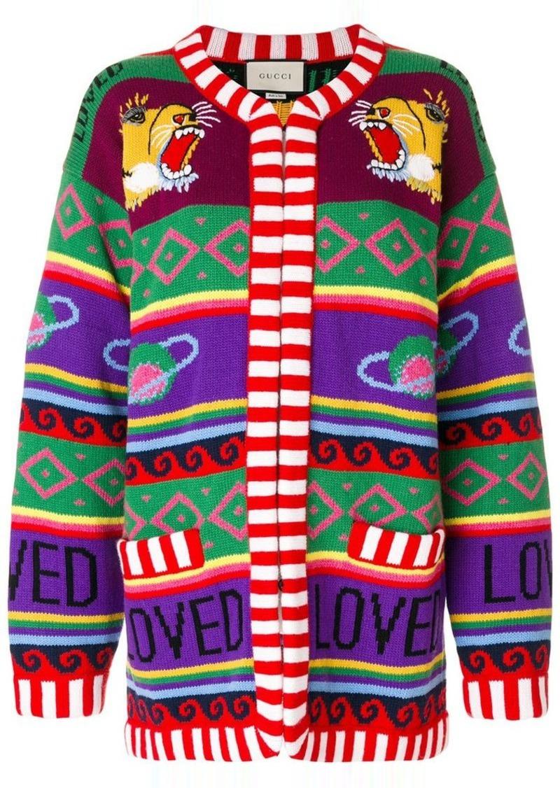 681f27b4fc0 Gucci tiger intarsia knit cardigan