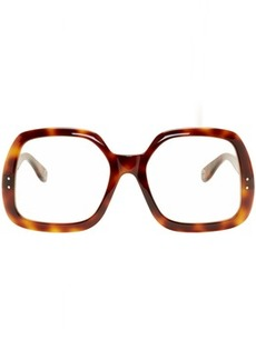 Gucci Tortoiseshell Oversized Square Optical Glasses