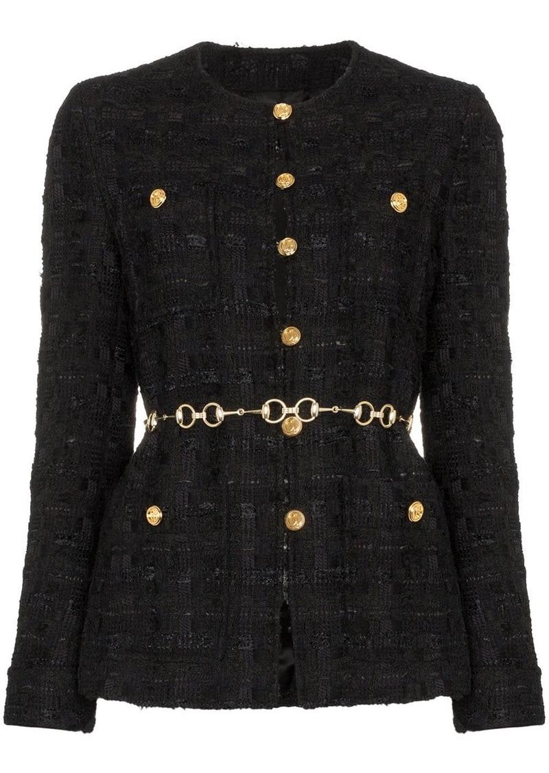 Gucci tweed jacket with horsebit belt