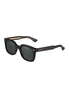 Gucci Unisex Square Acetate Sunglasses with Solid Lenses