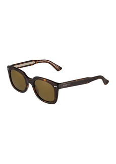 Gucci Unisex Square Tortoise Acetate Sunglasses with Solid Lenses