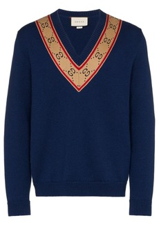 Gucci V-neck GG motif sweater