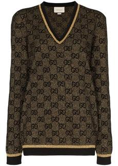 Gucci V-neck lurex knit GG sweater