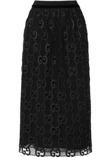 Gucci Velvet And Grosgrain-trimmed Macramé Lace Midi Skirt