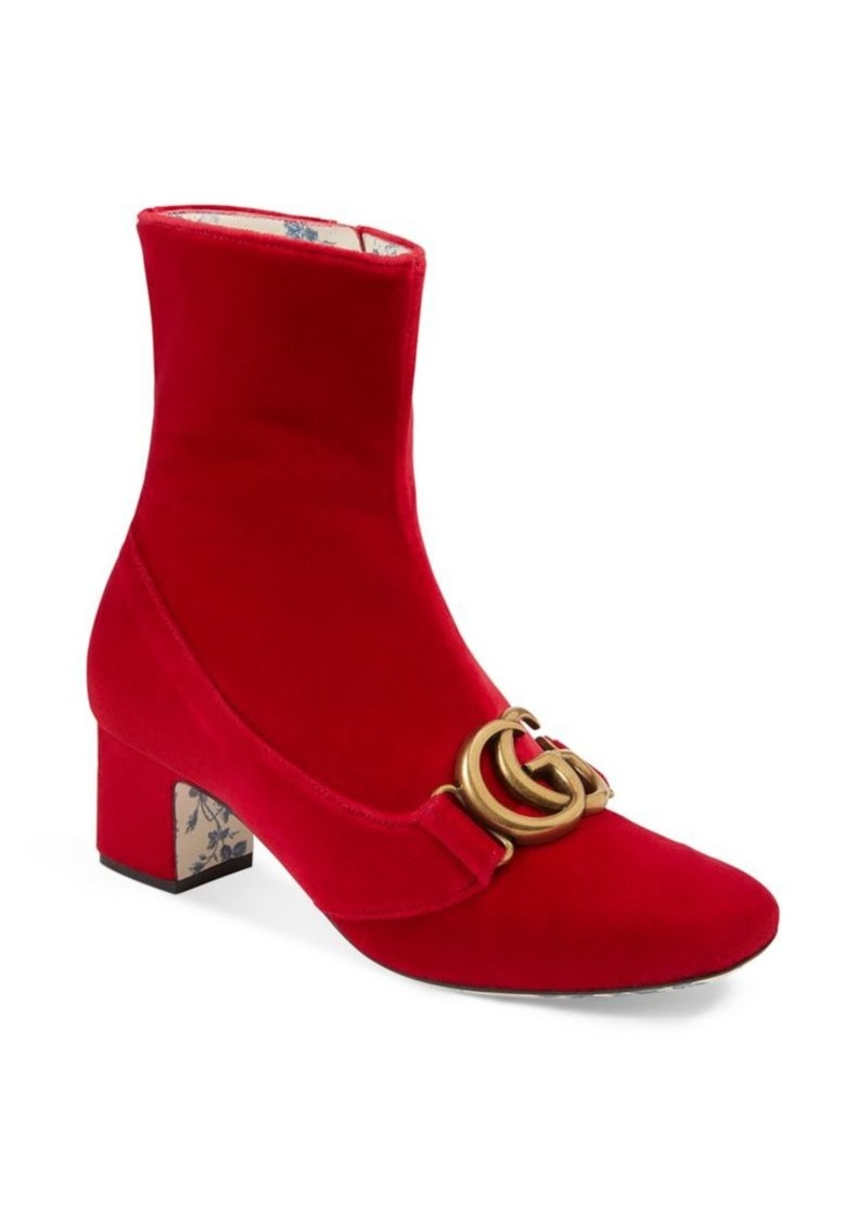 c3f99c52cab Gucci Velvet Mid-Heel Double G Ankle Boots
