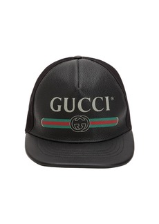 Gucci Vintage Logo Leather Baseball Hat