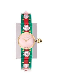 Gucci Vintage Web Goldtone Stainless Steel & Embellished Transparent-Strap Watch