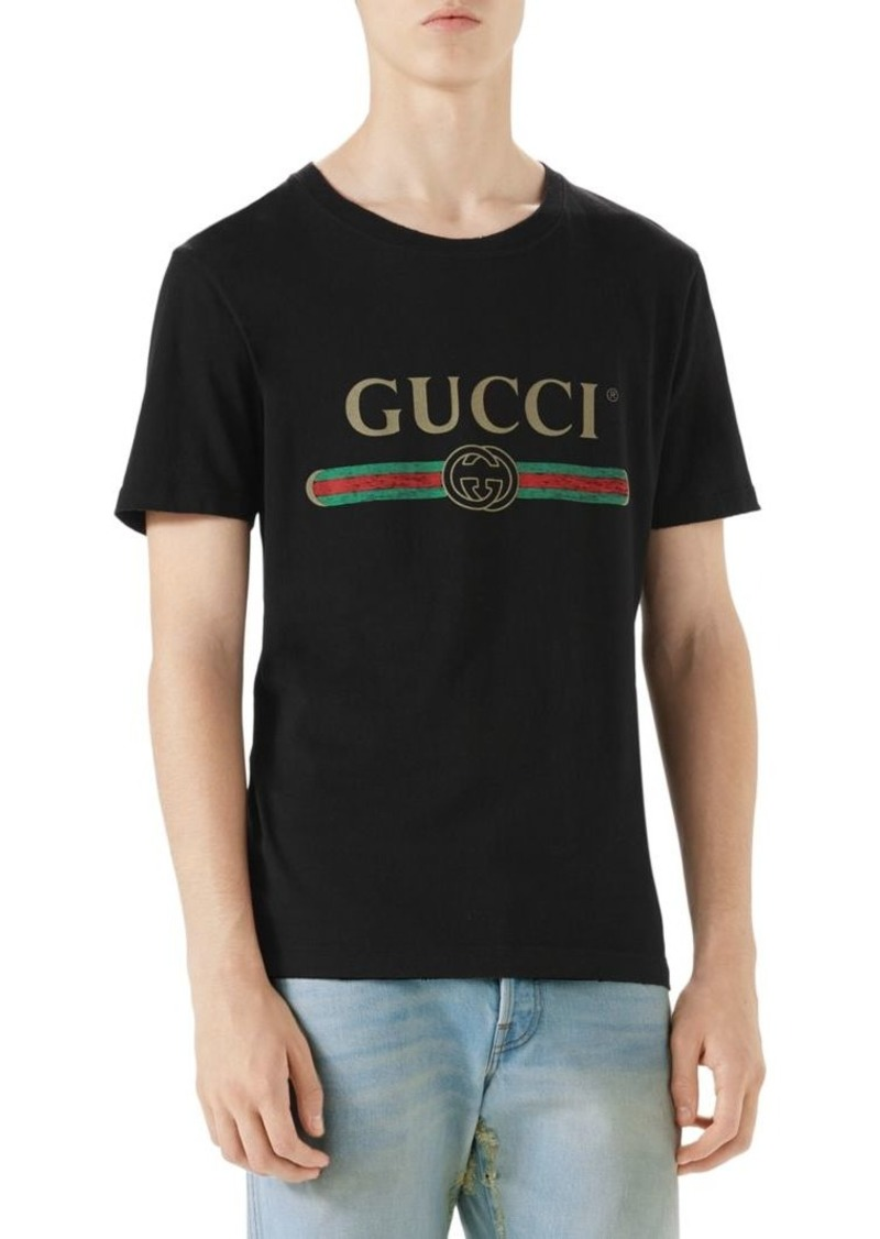 bd9775193908c9 Gucci Washed T-Shirt with Gucci Print
