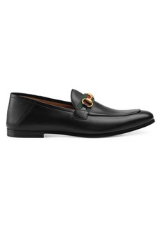 Gucci Web Brixton Leather Horsebit Loafers
