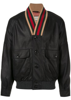 Gucci Web collar bomber jacket