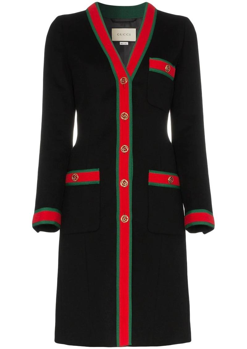 Gucci web stripe wool coat